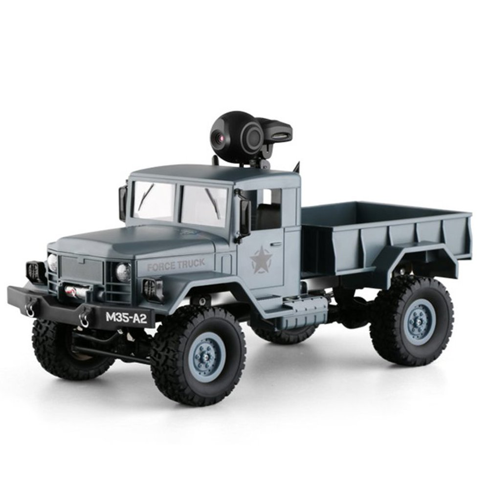 Fayee FY001 1/16 2.4G 4WD Rc Car 720P 0.3MP WIFI FPV Brushed Off-road Military Truck W/ LED Light