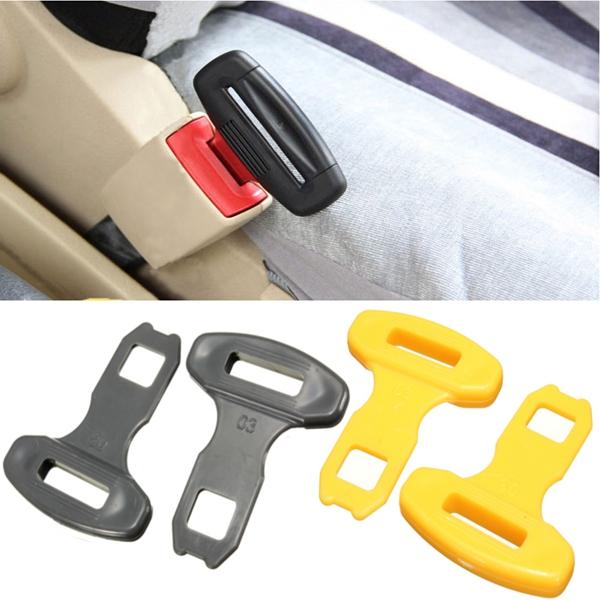 2pcs универсальный ремень автомобиля Сафти сиденье пряжками сигнализация бип стопорного компенсатора клип желтый черный