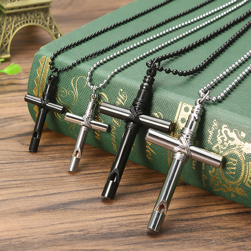 Cross Whistle Pendant Women Men Long Necklace Jewelry Couple Gifts