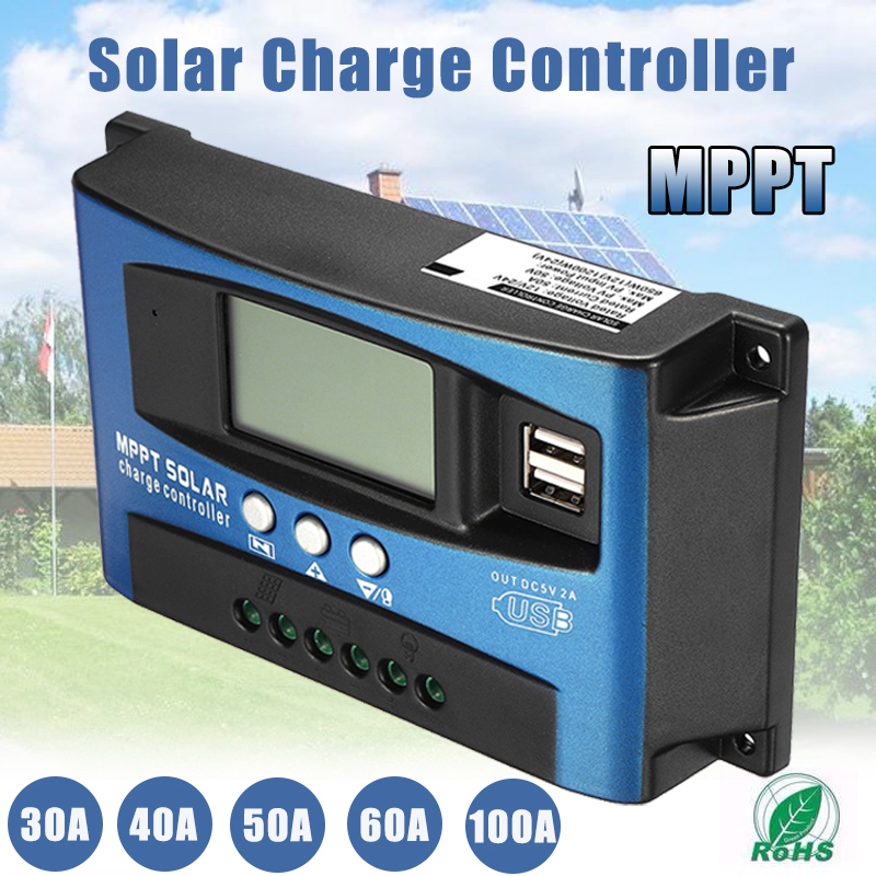 30/40/50/60/100A MPPT Solar Controller LCD Solar Charge Controller Accuracy Dual USB Solar Panel Battery Regulator 15