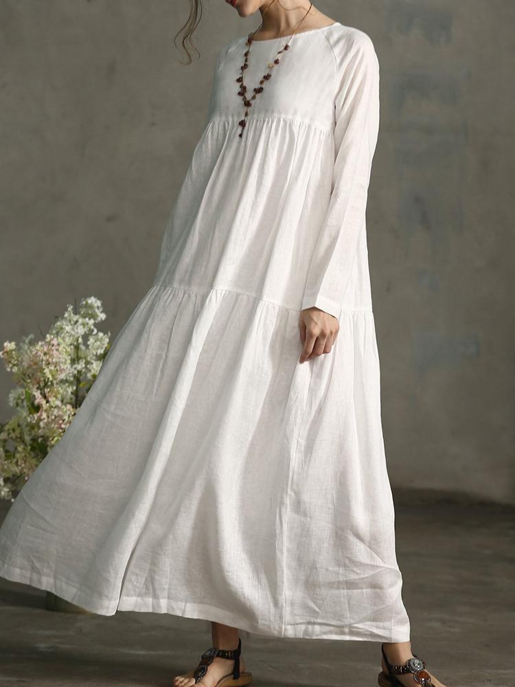 17659c89 plus størrelse vintage long sleeve pleated maxi cotton dress i Banggood