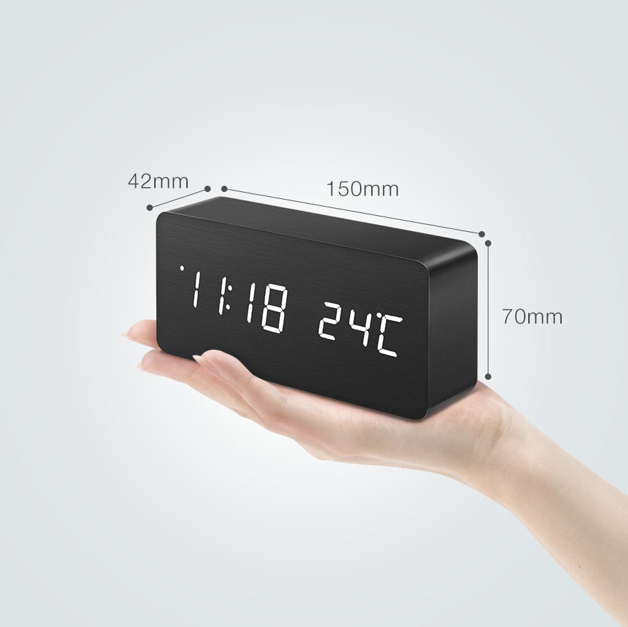[2019 Third Digoo Carnival] Digoo DG-AC2 3 Mode Wooden Voice Control LED Digital Alarm Clock Multifunctional Display Time Temperature Desk Clock