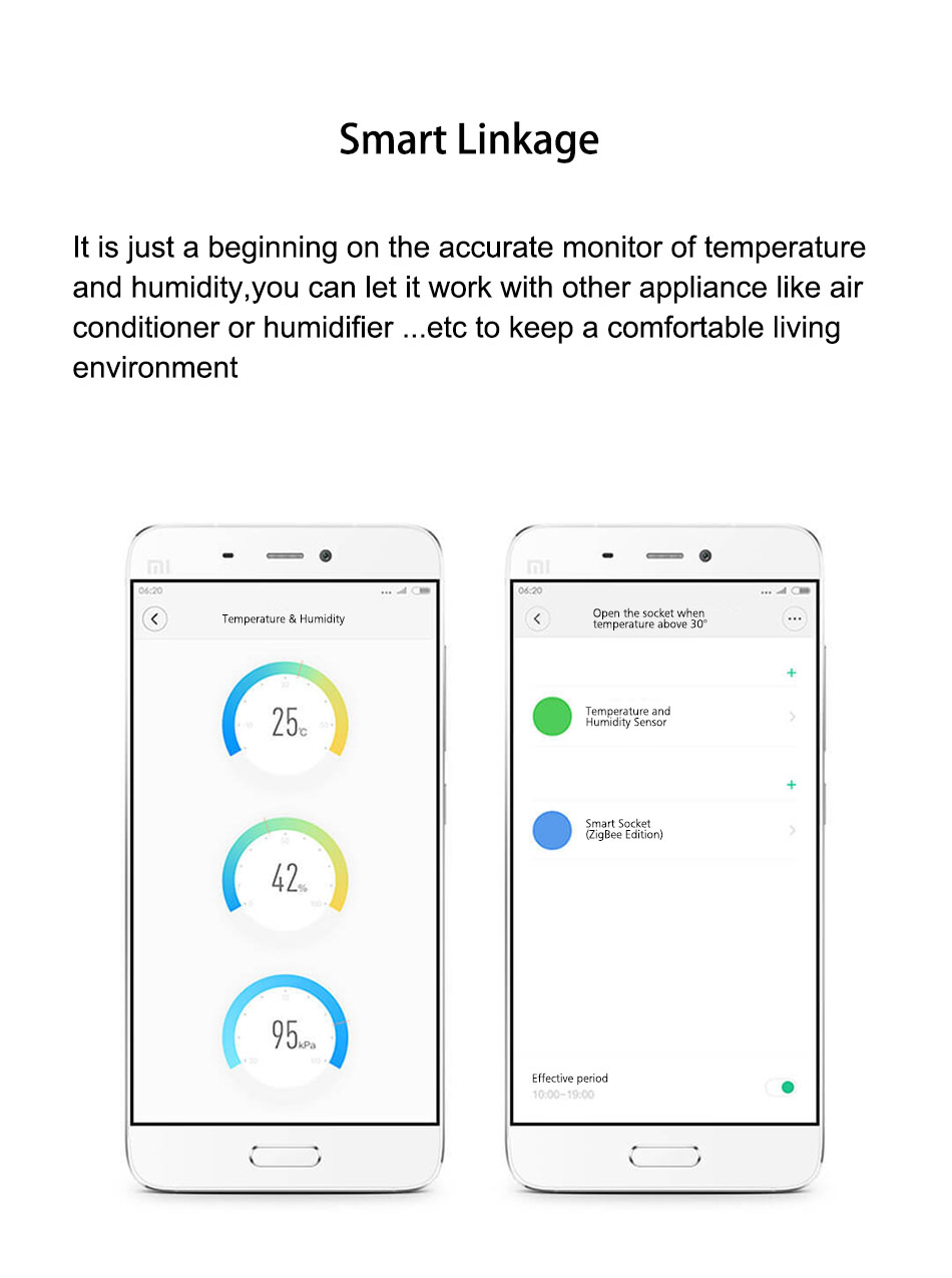 Atmos Version Original Aqara Smart Home Temperature & Humidity Sensor  Thermometer Hygrometer Digital Sensor From Xiaomi Eco-System