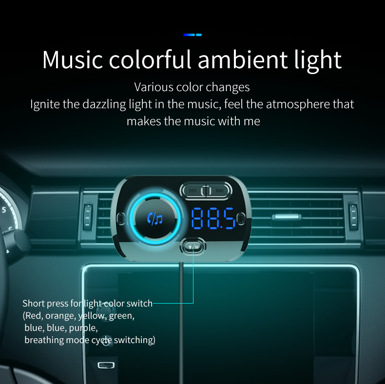 BC49BQ QC3 0 Fast Car Charger Voice Control bluetooth Handsfree MP3 Player  Digital Lights