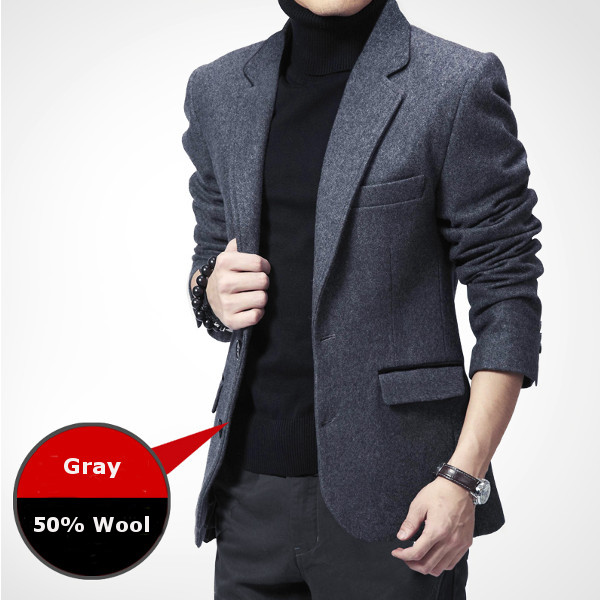 c55a38934348e4 Autumn Winter Business Casual Slim Fitted Warm Suits Mens Fashion Wool Suit  Coat