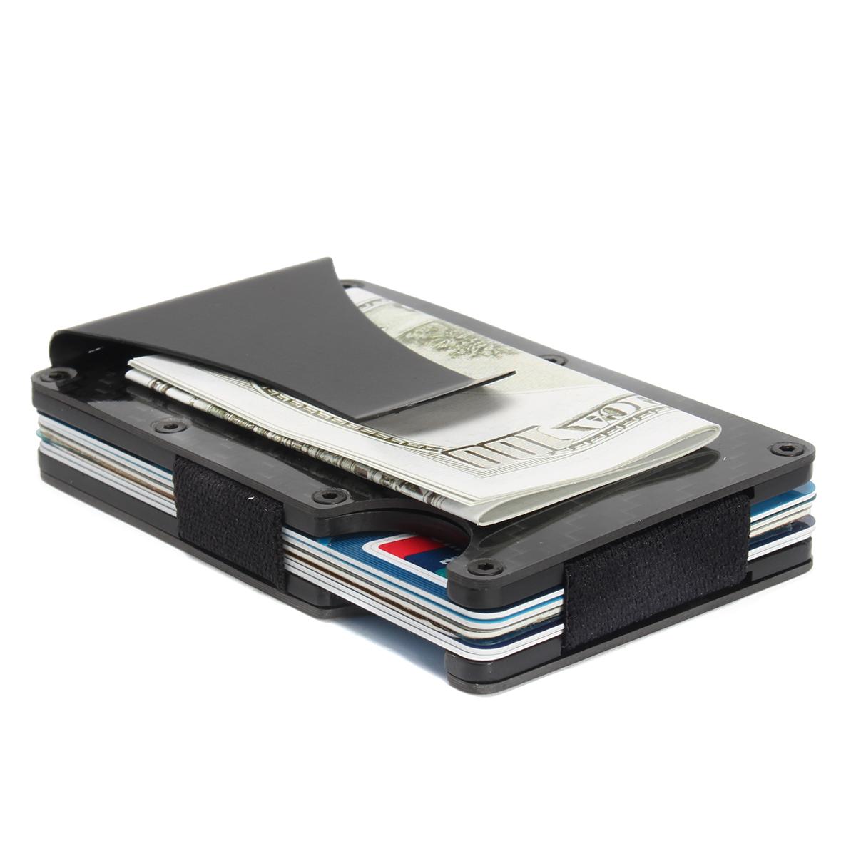 83e851d99bb2 Slim Carbon Fiber Credit Card Holder RFID Blocking Metal Wallet Money Clip  Case