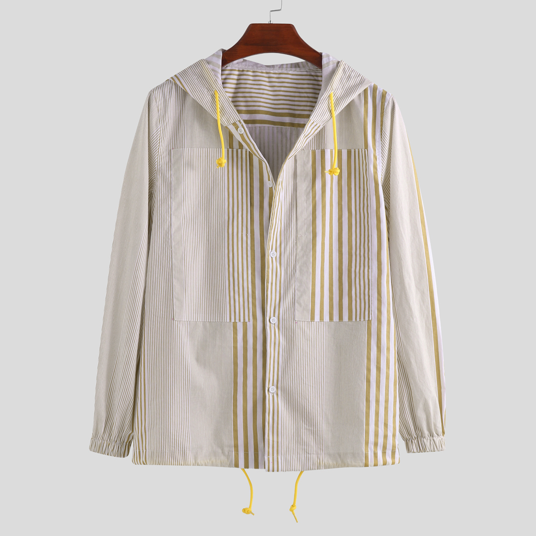 Vertical Mixed Stripe Long Sleeve Hooded Shirts