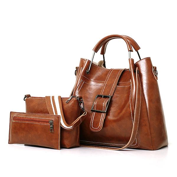 Women Faux Leather Three-piece Set Handbag Shoulder Bag