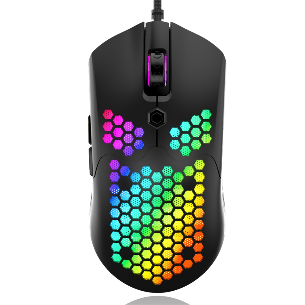 ZIYOULANG M5 Wired Game Mouse Breathing RGB Colorful Hollow Honeycomb Shape 12000DPI Gaming Mouse USB Wired Gamer Mice for Desktop Computer Laptop PC