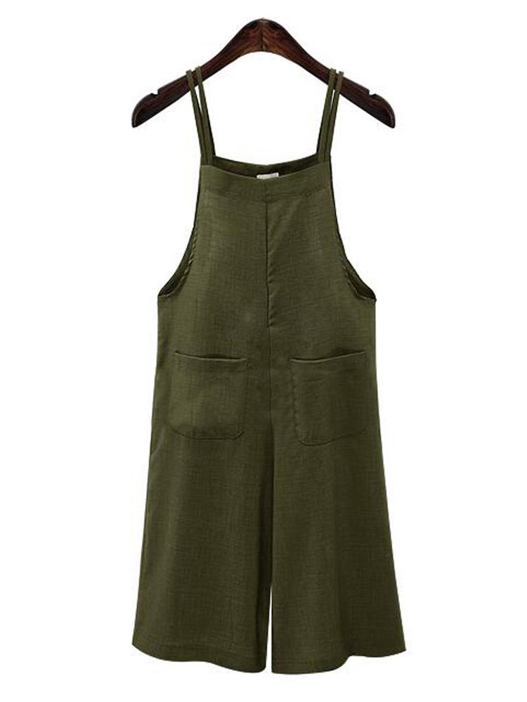 Женское Хлопковый однотонный ремешок Комбинезон с карманами