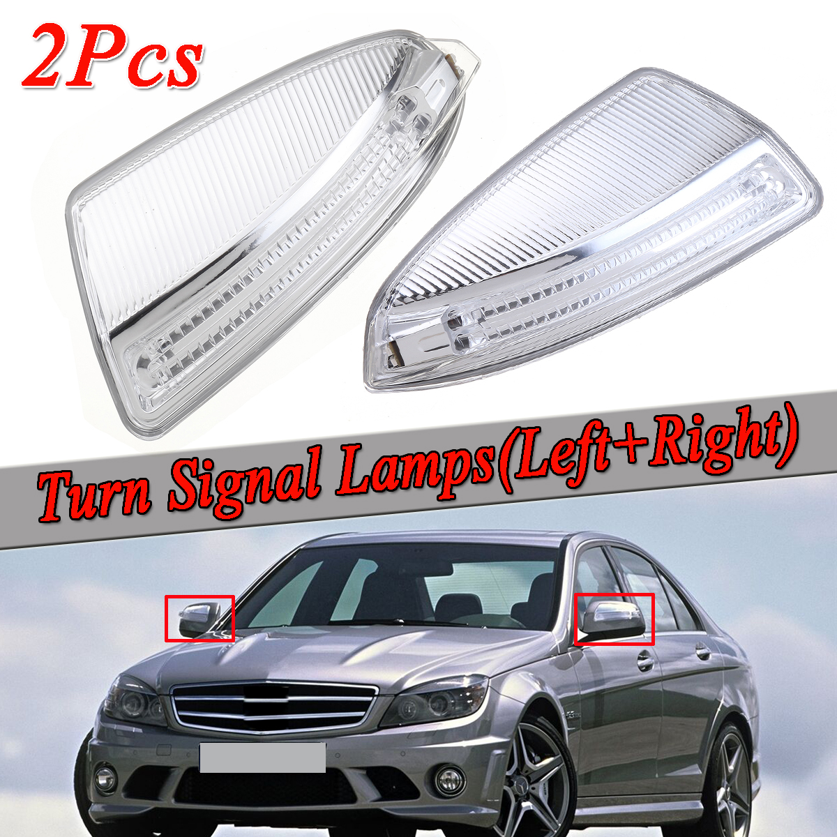 Side Mirror Turn Signal Lights Lamps Pair For Mercedes Benz Ml Class C Class W204