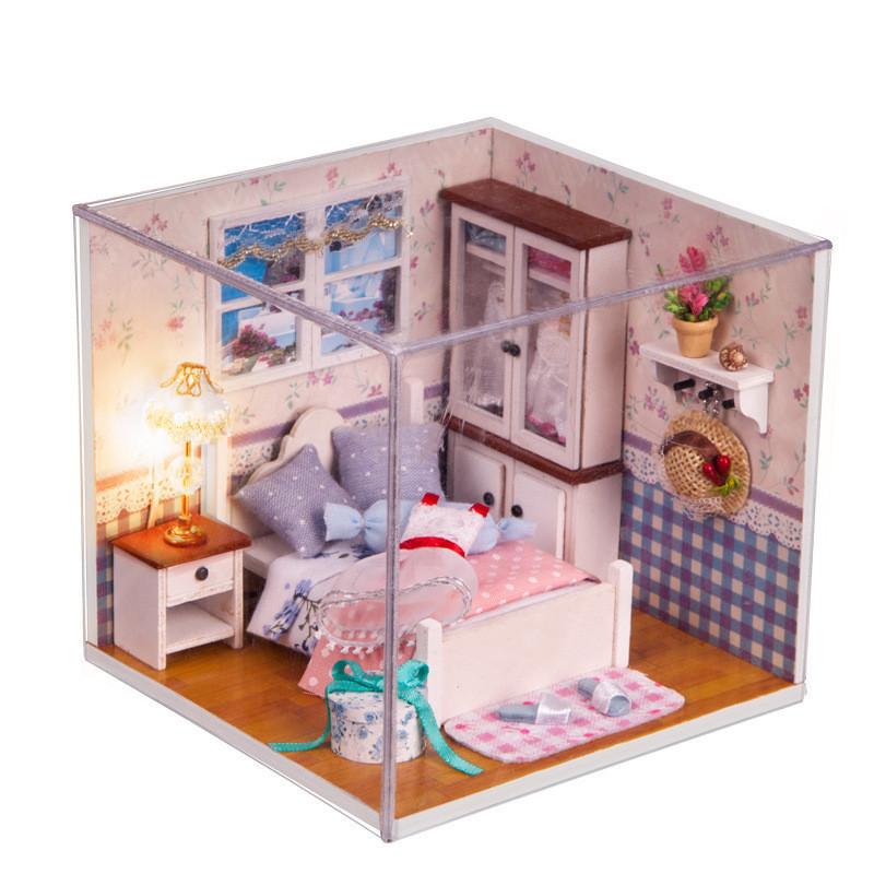Iiecreate M-002 Schlafzimmer DIY Holz Puppenhaus Miniatur Mit LED Möbelbezug Puppenhaus