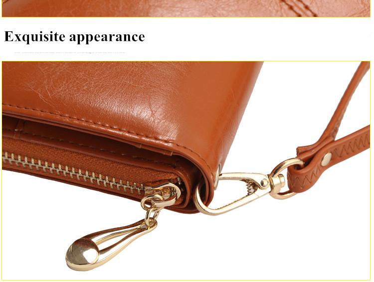 Floveme Fashion Woman PU Zipper Wallet Bag Multi-functional Purse For Smartphone iPhone Samsung
