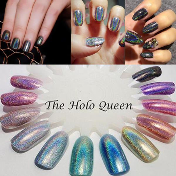 holographic nail art powder holo glitters powders pigment aurora ...