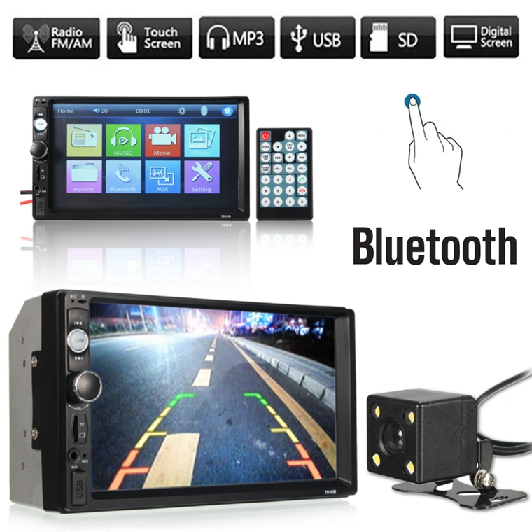 iMars 7010B 7 Inch Car Stereo Radio MP5 Player FM USB AUX HD bluetooth  Touch Screen Rear View Camera