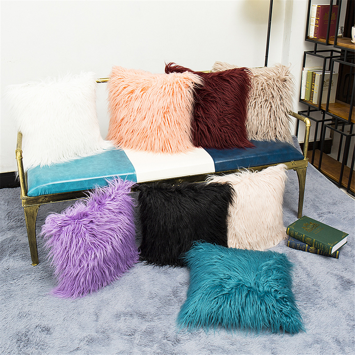 Long Wool Throw Pillow Cover J...