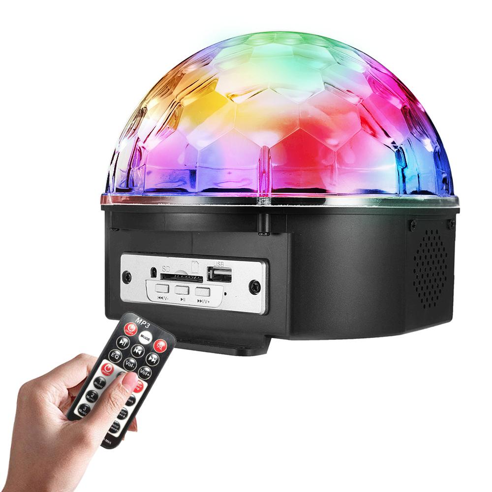 9 цветов управления голосом LED с пультом дистанционного управления MP3 хрустальный шар вспышки огни этап спринклерные огни