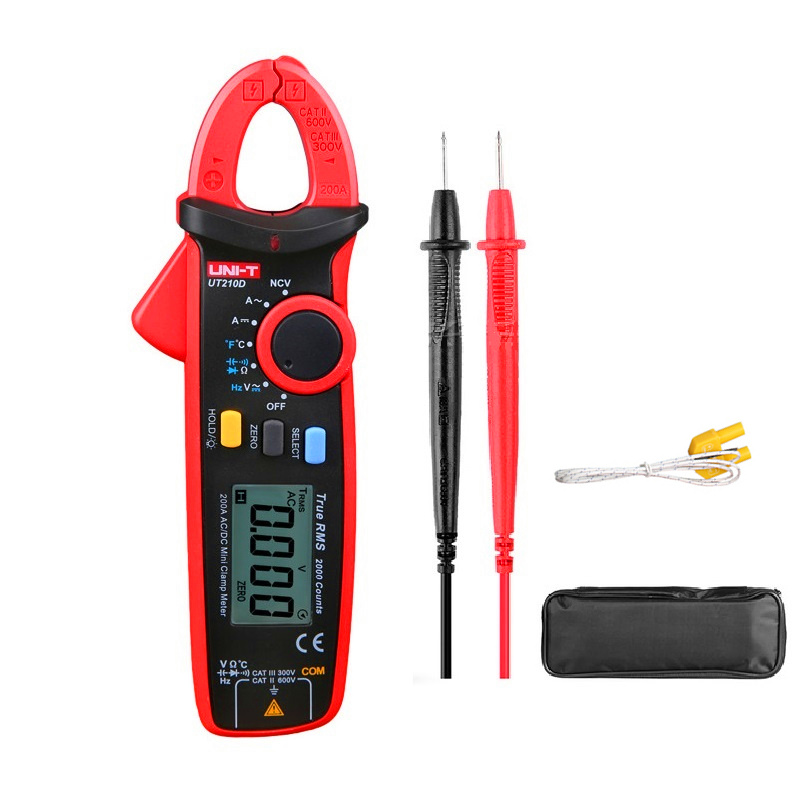 UNI-T UT210D Digital Clamp Meter Temperature Measurement Auto Range Capacitance Multimeter AC/DC Current Voltage Resistance Meters