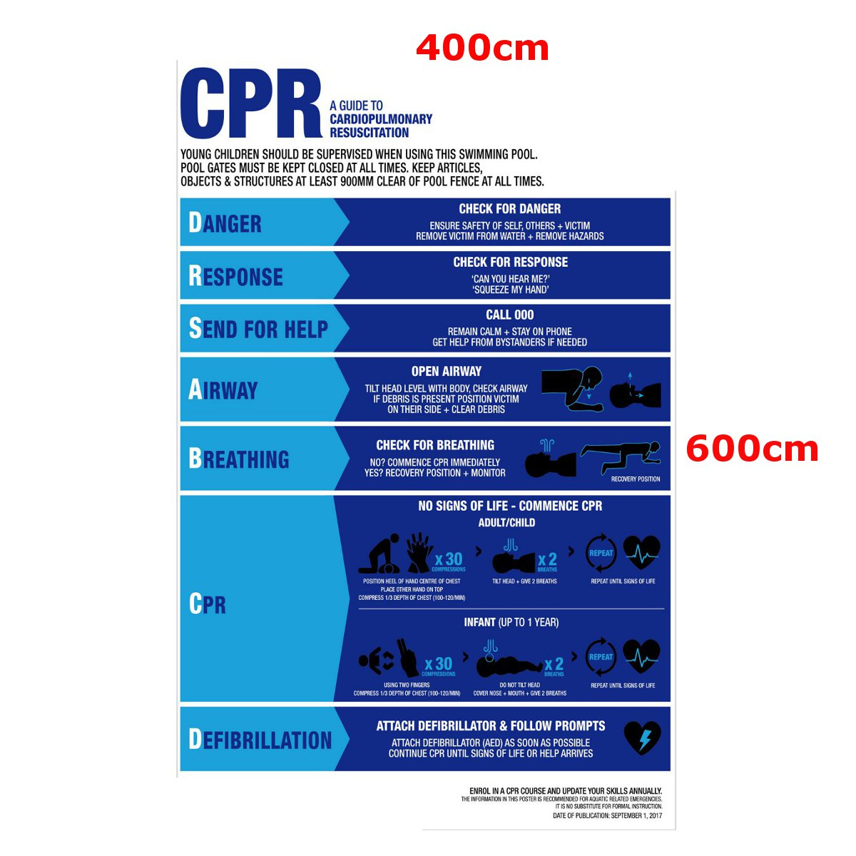 Details zu Swimming Pool Spa CPR Sign Resuscitation Chart Warning Safety  Sign PVC Sticker