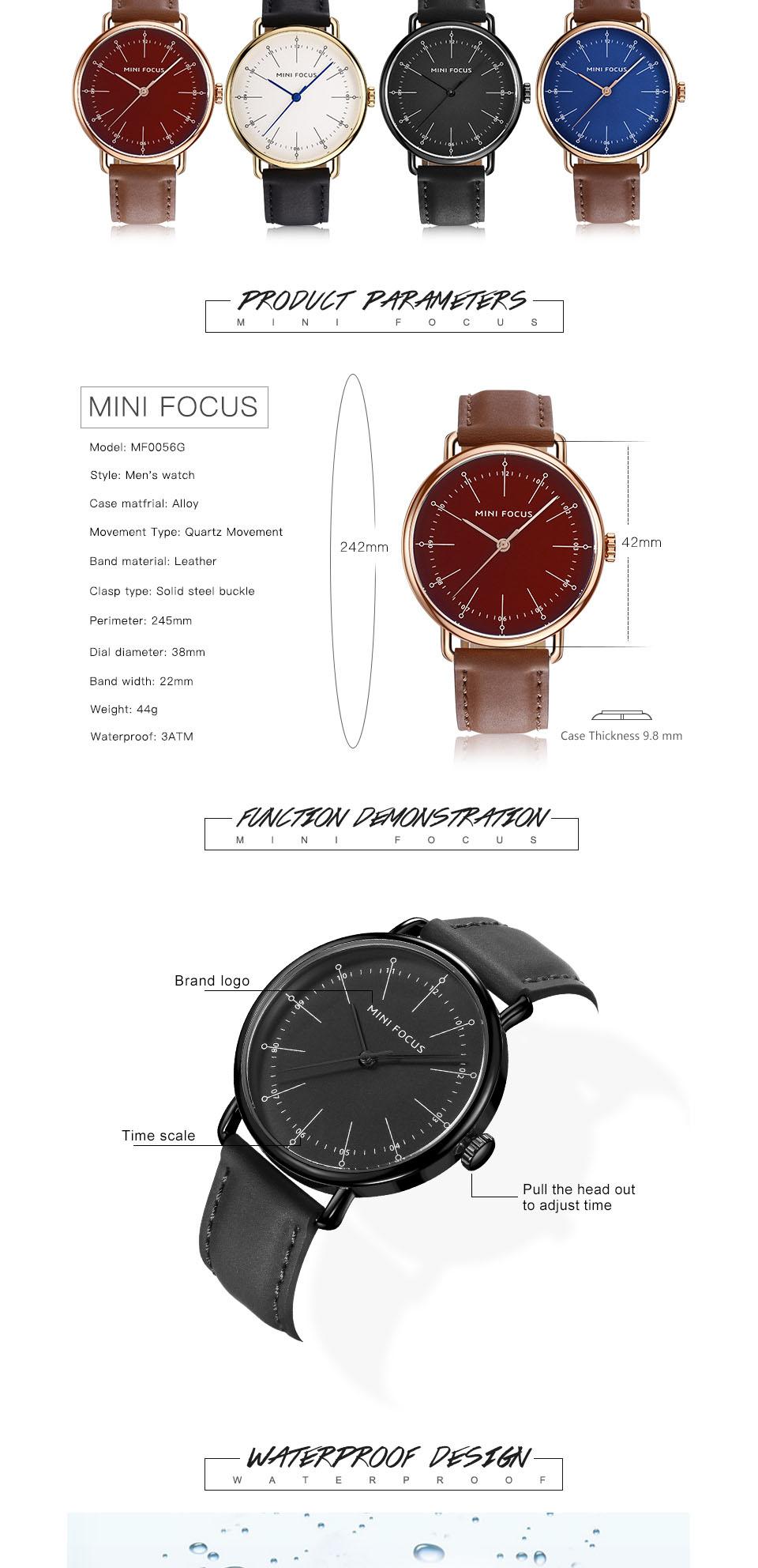 MINI FOCUS MF0056G Genuine Leather Quartz Watches Casual Style Analog Men Wrist Watch