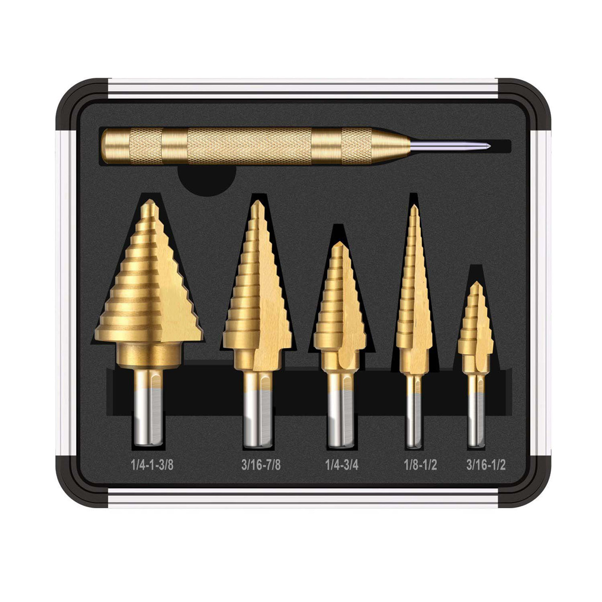6pcs HSS Titanium Coated Step Drill Bit With Center Punch Drill Set Hole Cutter Drilling Tool