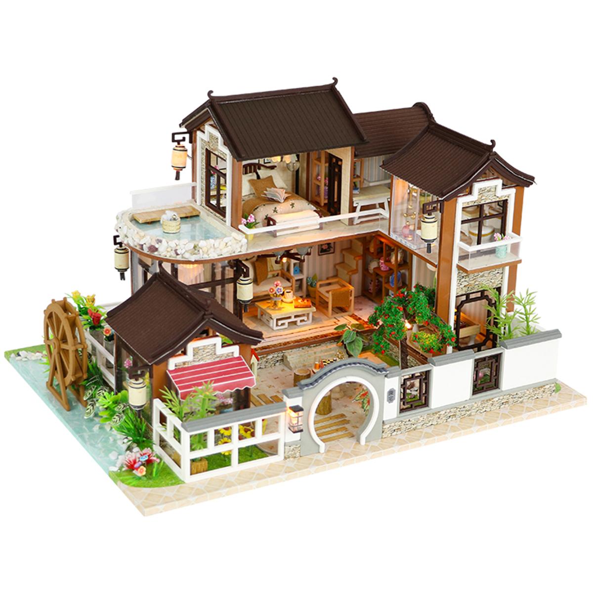 DIY Dollhouse Миниатюрная кукольная мебель для дома Набор LED Дети Кот День рождения Xmas Gift House