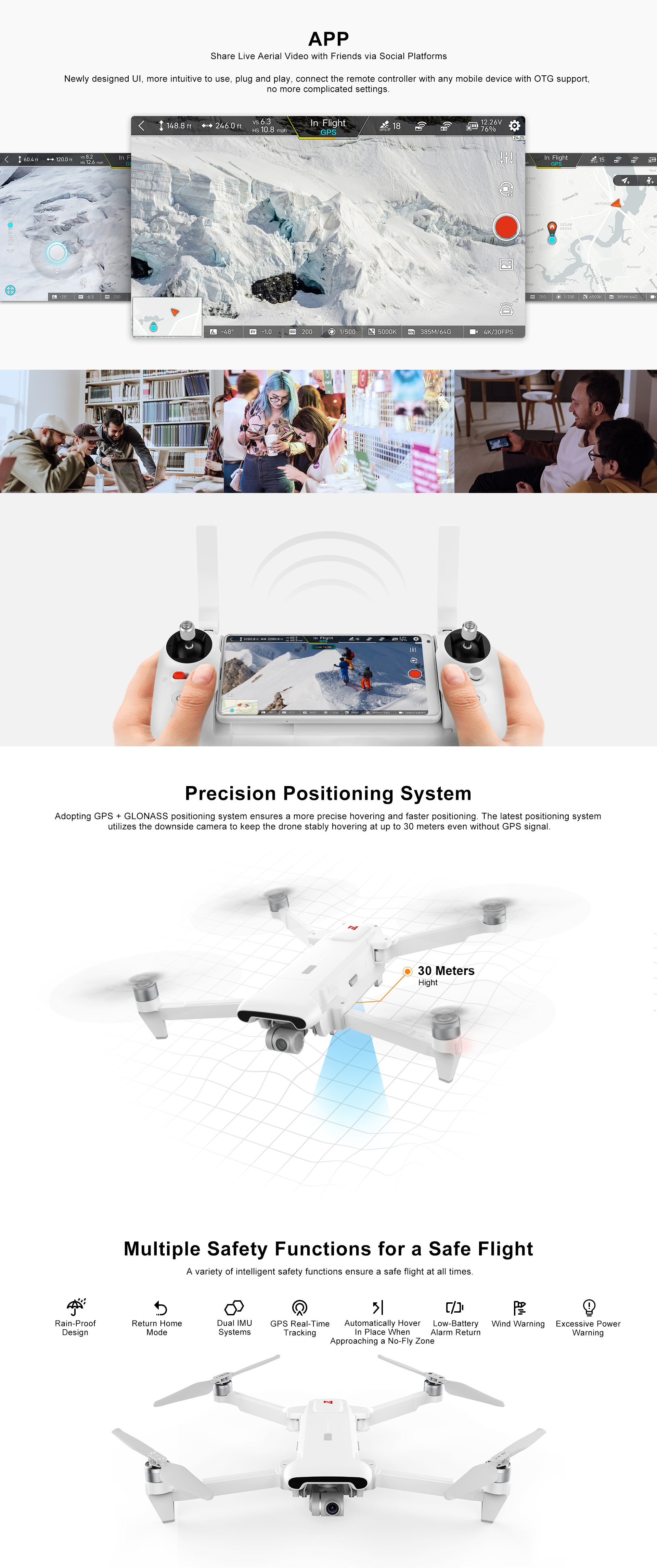 FIMI X8 SE 2020 8KM FPV With 3-axis Gimbal 4K Camera GPS RC Drone Quadcopter RTF Two Batteries Version (With Storage Bag No FIMI Premium Care) 7