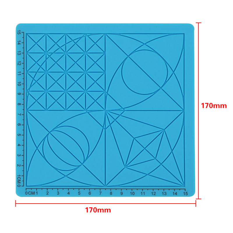 C-Type Blue 3D Printing Pen Drawing Tools Silicone Design Mat with Basic Template + 2pcs Insulation Silicone Finger Caps Kit