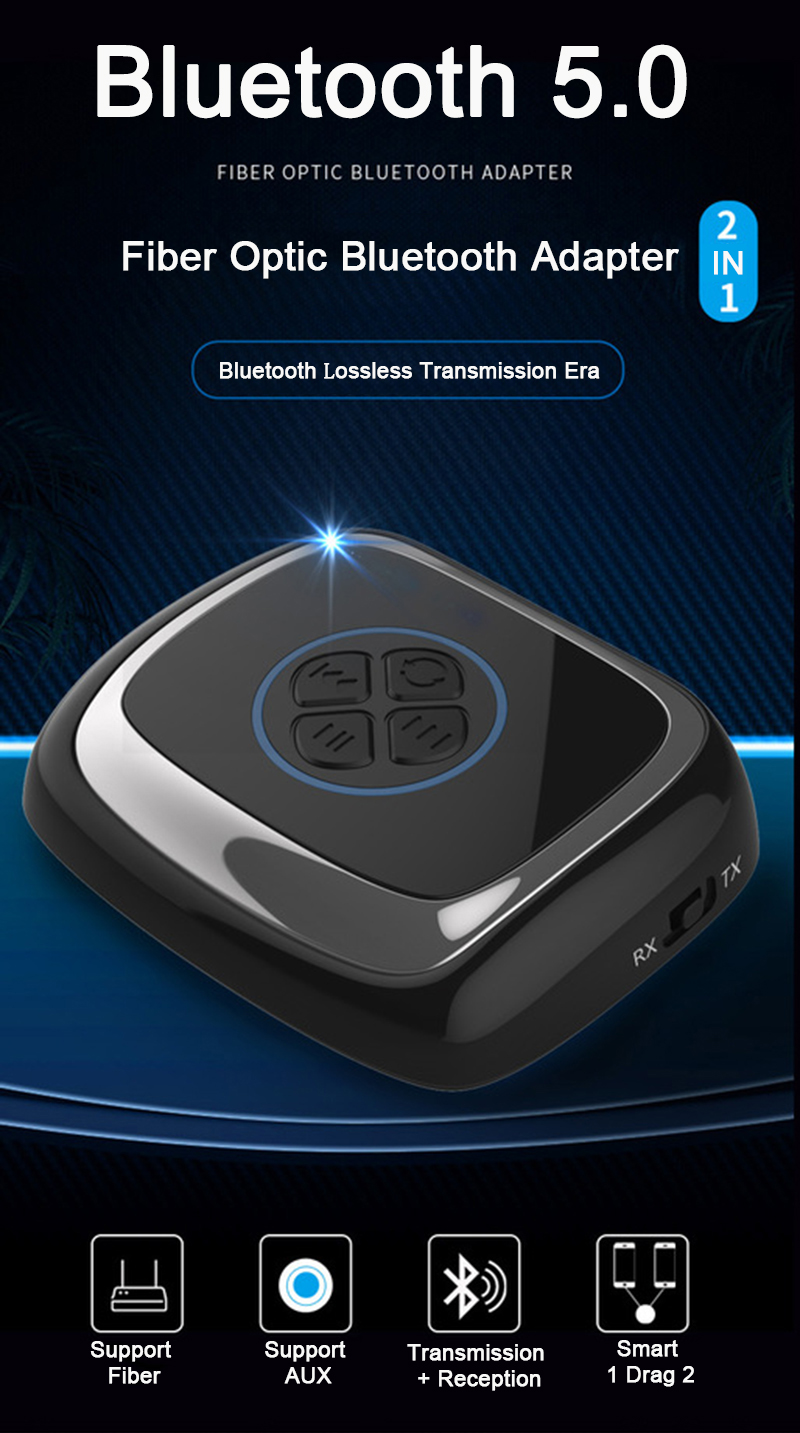 bluetooth V5 0 Fiber Optic Transmitter Receiver aptX HD Music Wireless  Adapter Support AUX Audio 2 in 1 Adapter