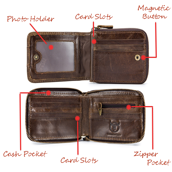 45edd1d35fba Bullcaptain RFID Antimagnetic Vintage Genuine Leather 11 Card Slots Coin  Bag Wallet For Men