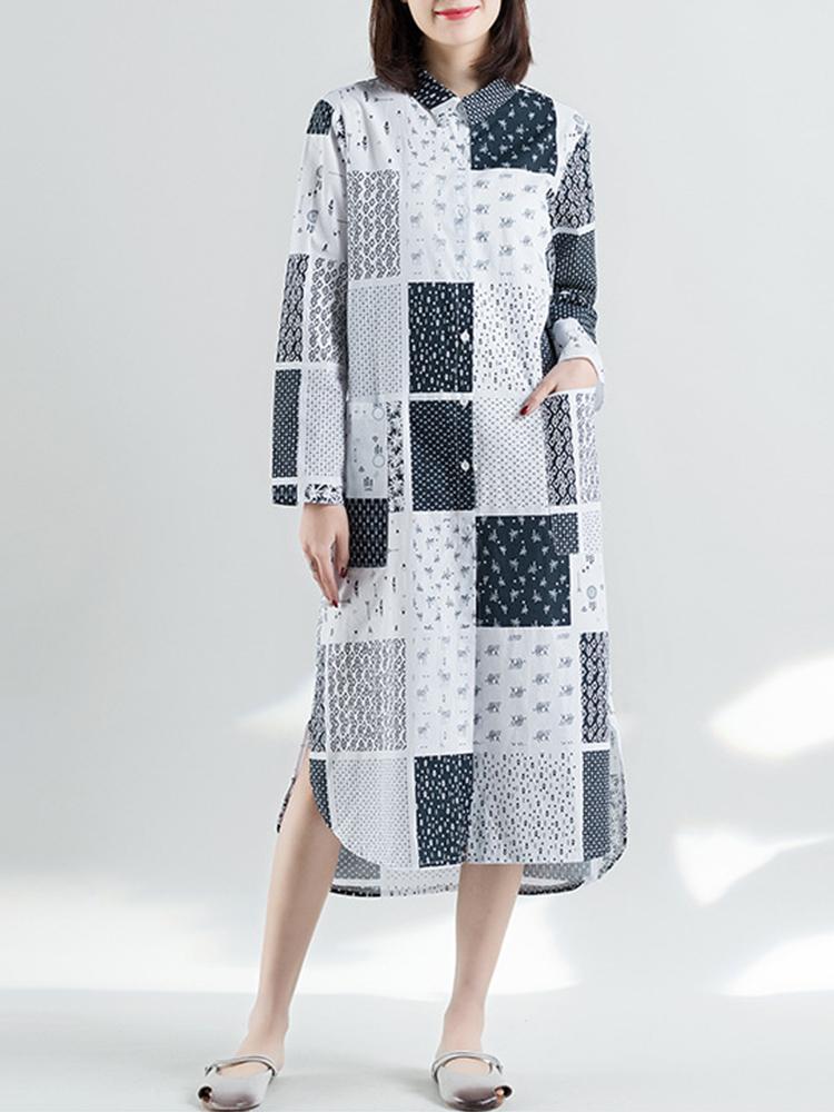 Этнический стиль Лоскутная с длинным рукавом Женское Рубашка Платье