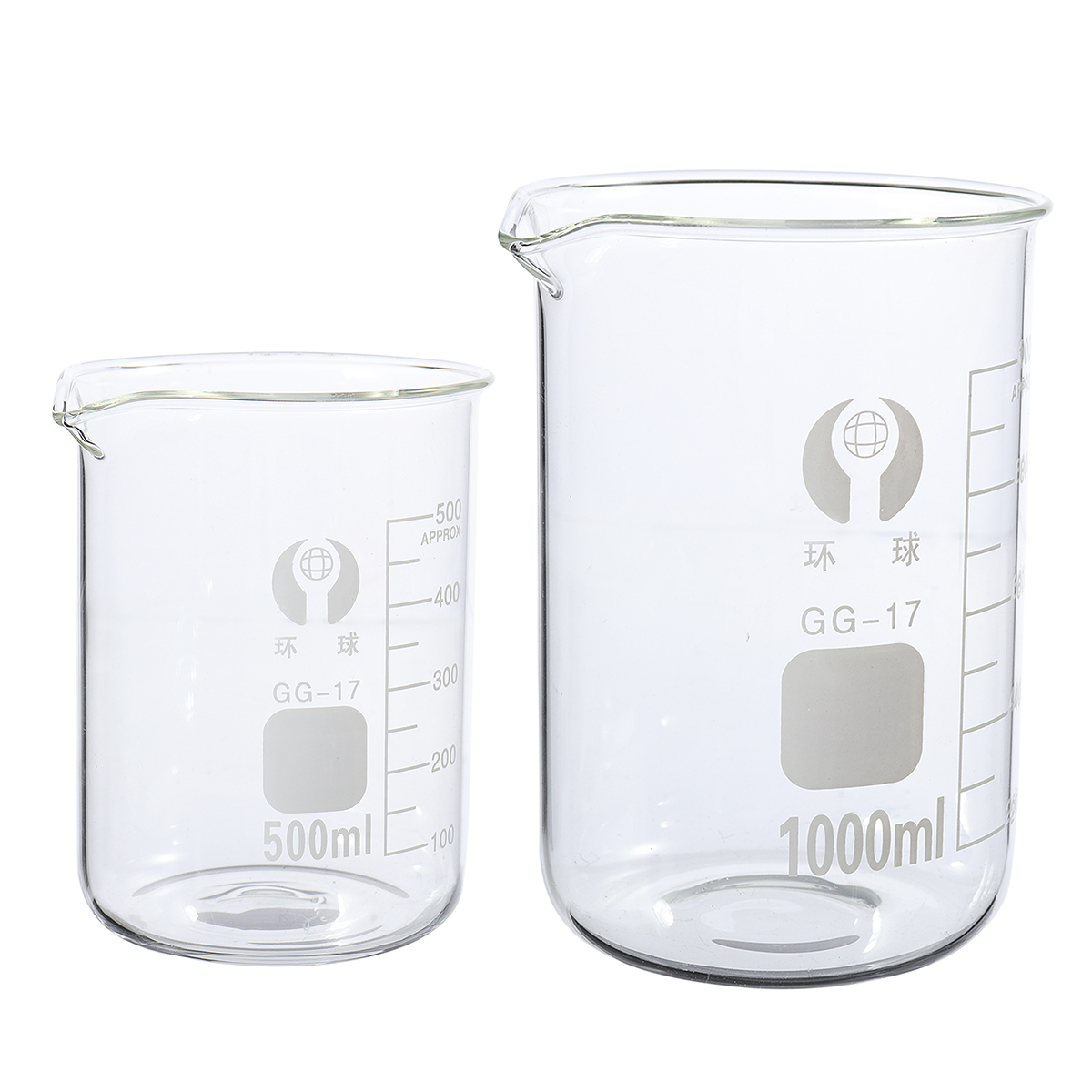 2Pcs 500ml 1000ml Beaker Set Graduated Borosilicate Glass Beaker Volumetric Measuring Laboratory Glassware