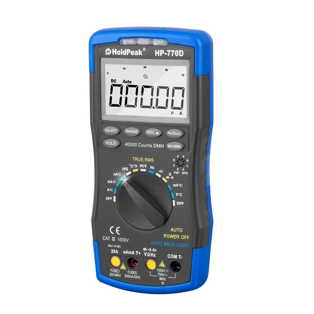 HoldPeak HP-770D 40000 Counts True RMS Digital Multimeter High precision Auto Range Duty Cycle Ohm Volt Amp Esr Capacitor Tester Diode/ hFE Test
