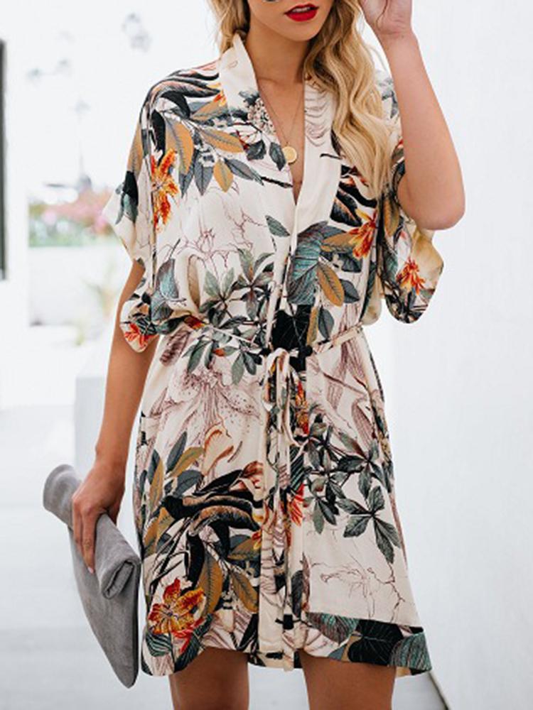 Женское Повседневный свободный V-образный вырез с цветочным принтом Платье