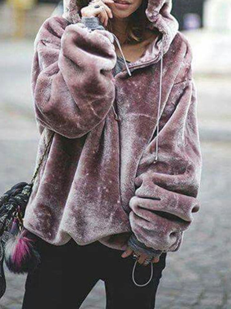 Women Fluffy Solid Color Zipper Hooded Sweatshirt