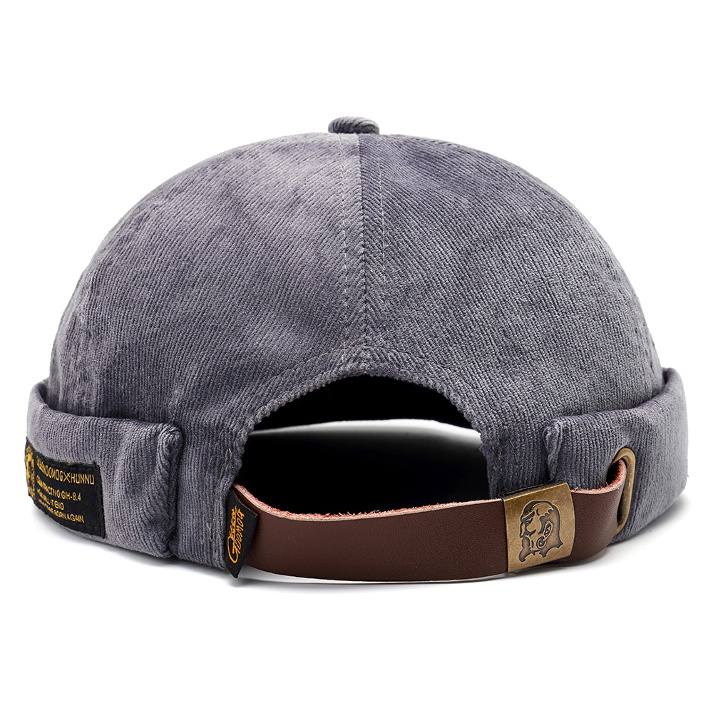 bbf2727a4 Mens Corduroy Adjustable Solid French Brimless Hat Vogue Retro Skullcap  Sailor Cap