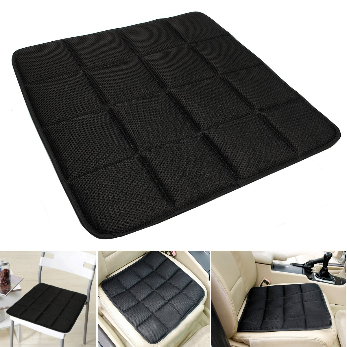 Bamboo Charcoal Breathable Seat Cushion Cover Pad Mat For Car Office Chair Black