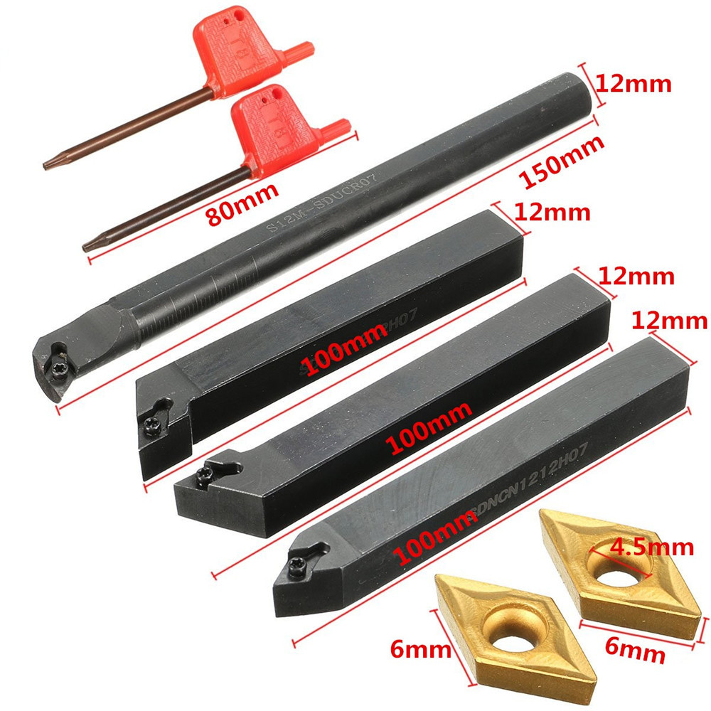 4pcs S12M-SDUCR07 SDJCR1212H07 SDJCL1212H07 SDNCN1212H07 Turning Tool Holder with 4pcs DCMT0702 Inse