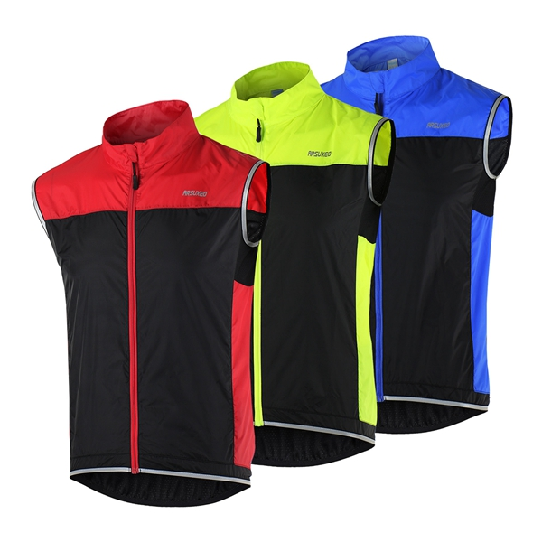 ARSUXEO Велоспорт без рукавов Жилет Жилет Жилет Ветровка Ultralight Breathable For Running фото