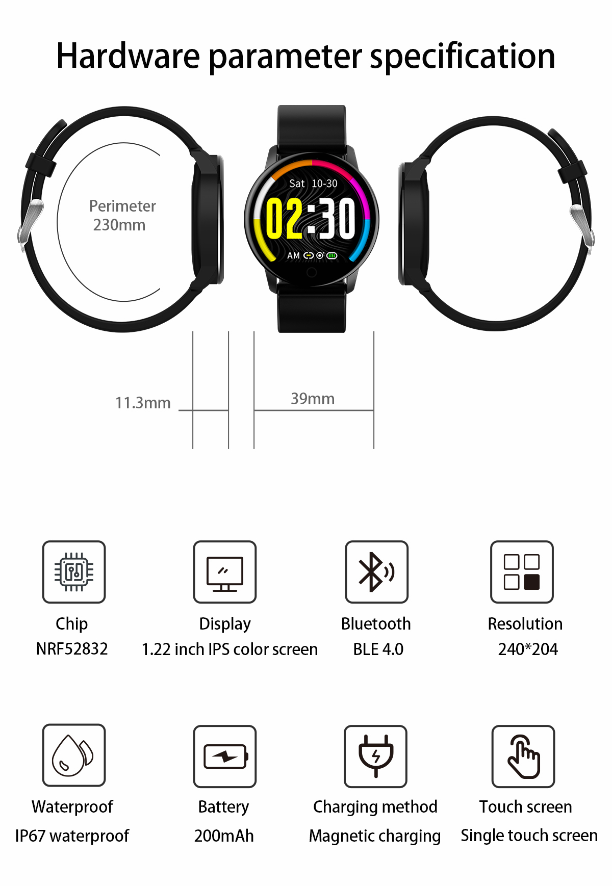 Newwear Q20 HD Edge to Edge Screen Heart Rate Physiological Cycle Message Display Reject Call 30Days Standby Smart Watch