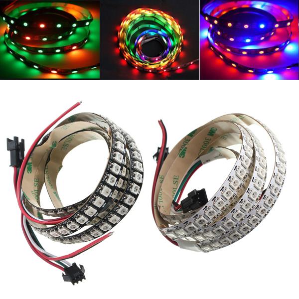 1M WS2812B 5050 RGB Сменный LED Полосатый свет 144 светодиода, не водостойкий Индивидуальный адресуемый 5V
