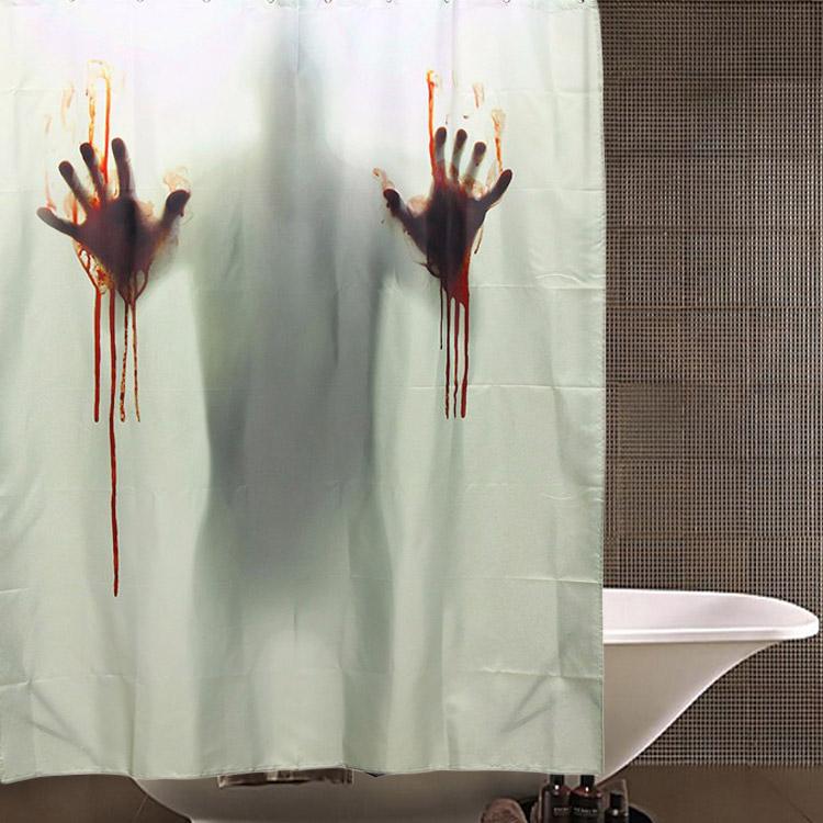 Halloween Horror Blood Bath Polyester Shower Curtain Bathroom Decor with 12 Hooks