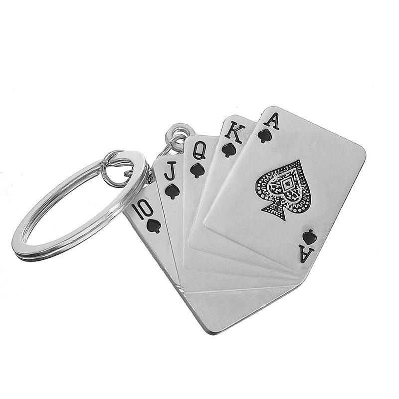 Man's Christmas Car Gift Creative Poker Metal Key Chain Ring