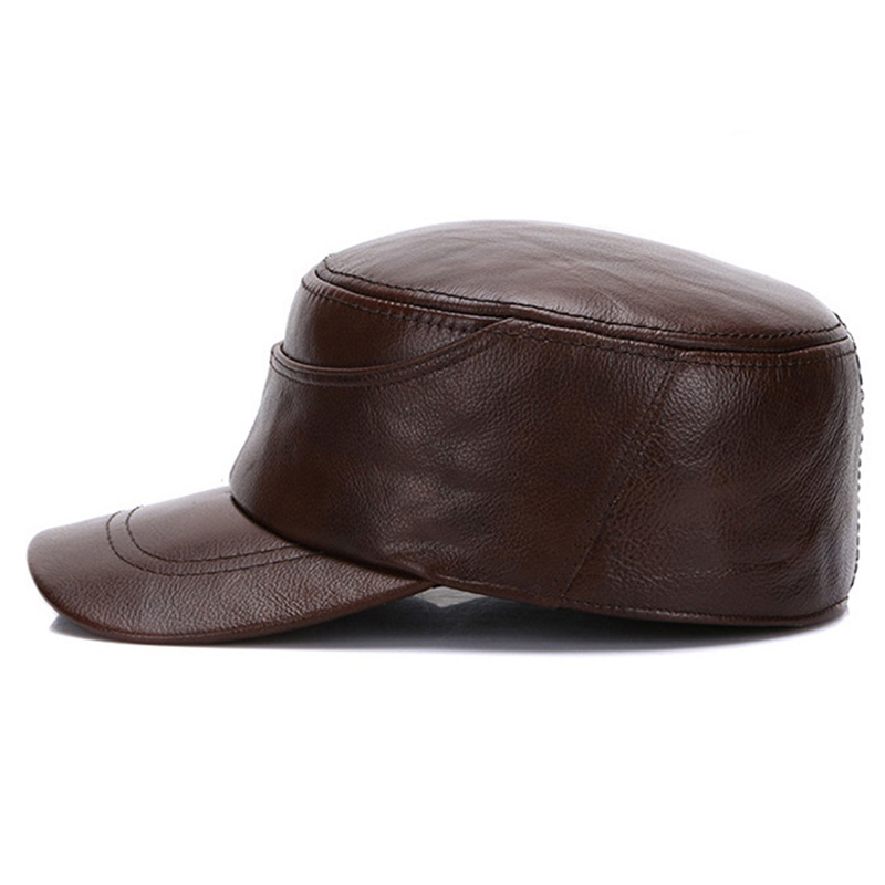Mens XL/2XL/3XL Three Size Winter Warm Leather Military Cadet Cap Casual  Solid Flat Top Hats