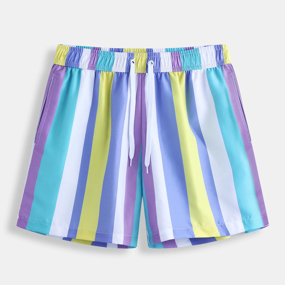 Mens Holiday Colorful Пляжный полосатые гавайские повседневные шорты
