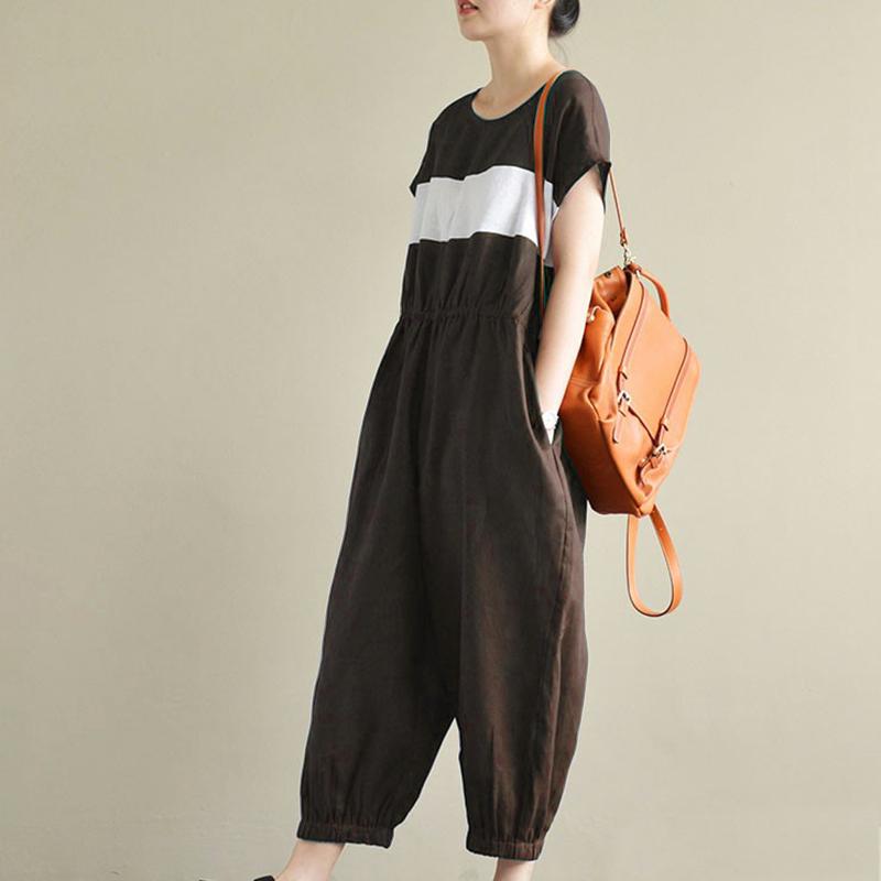 Women Stripe Crewneck Short Sleeve Long Jumpsuit Overalls