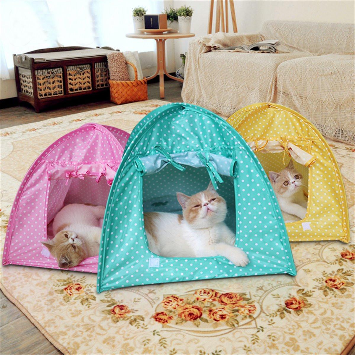 Складной Pet Кот Палатка, играющая Bed House Kitty Camp Водонепроницаемы На открытом воздухе Собака Питомник
