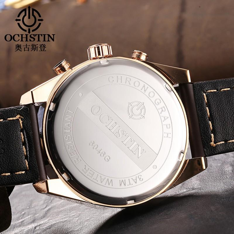 OCHSTIN 6046G Men Quartz Watch Luxury Leather Strap Business Watch