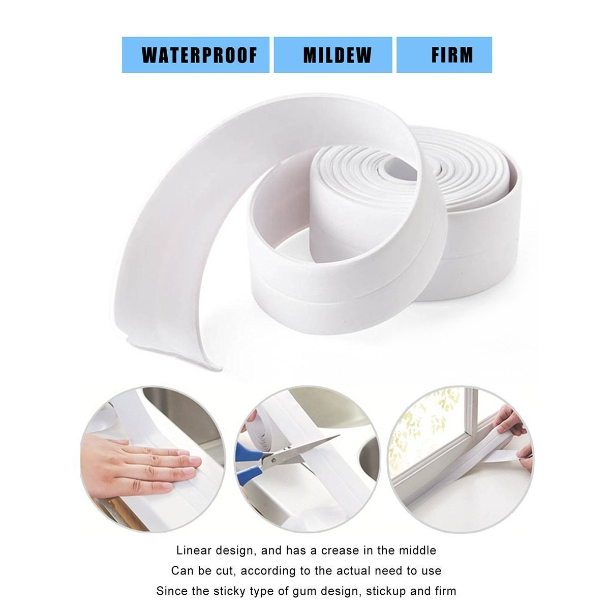Honana 3.8mm Kitchen Bathroom Self Adhesive Wall Seal Ring Tape Waterproof Tape Mold Proof Edge Trim Tape Accessory 10