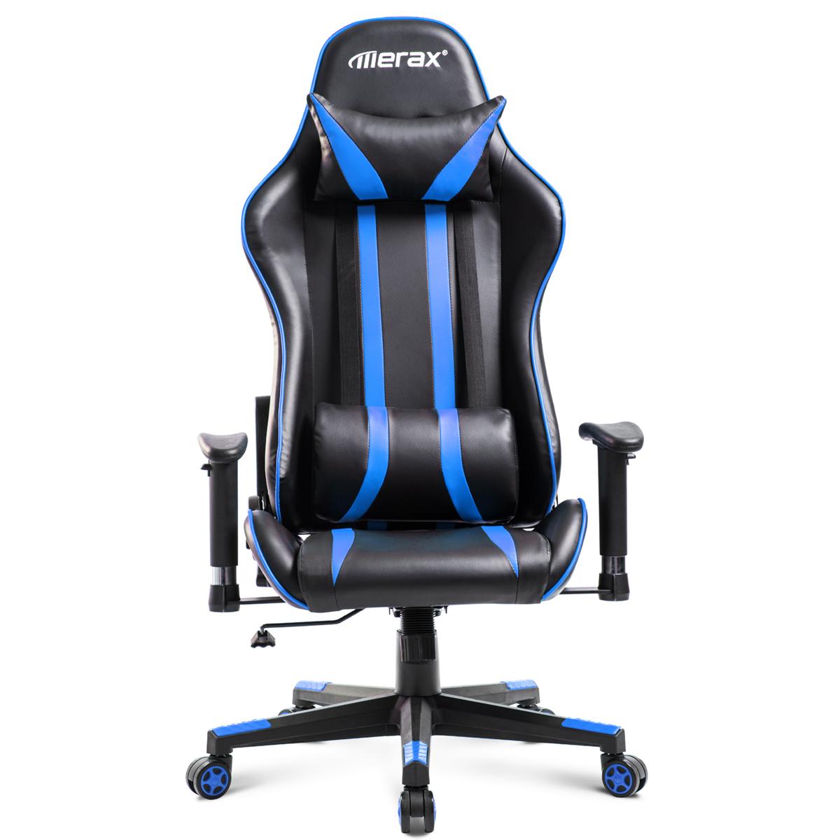 Merax Офисный стул Эргономичный высокоспинный гоночный игровой стул Компьютерный стул Кожа PU Регулируемая высота Вращающийся подъемный сту